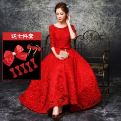 2017 spring and summer new sexy lace dress long bride bridesmaid dress red s