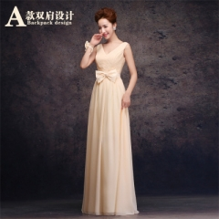 2016 new bridesmaid group sisters skirt wedding dress banquet annual performance dress champagne A s