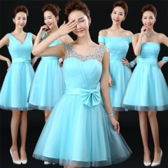 2016 new presided over graduation dress bridesmaid dress summer breasts bridesmaid dress sky blue s