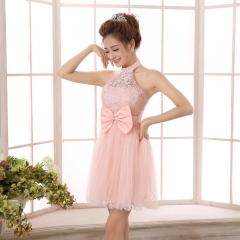 2016 bridesmaid dresses small dress shoulder short section shoulder, collar wedding dress champagne c s