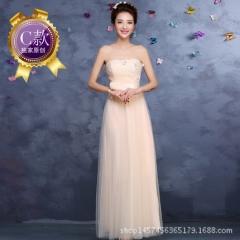 2016 new bridesmaid dress long dress bridesmaid dress sisters group evening dress champagne c s