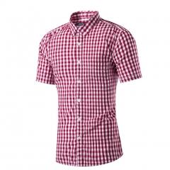 Cotton lapel short sleeve shirt men's small lattice short sleeve shirt Red lattice s
