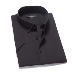 Short Sleeve Black Men Shirt Casual Cotton Shirt Men Shirt black s