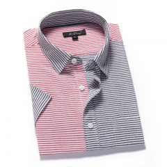 Men's short-sleeved shirt shirt casual stripes stitching men's clothing Red and gray s