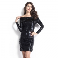 Sexy fashion ladies new long-sleeved word collar strapless hip hip dress black free  size