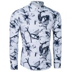 Cotton men 's fashion ink painting Slim long - sleeved shirt black m