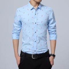 Trendy men's long-sleeved shirt 5-color men's long-sleeved shirt light blue m