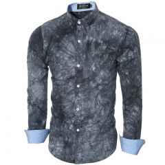 High quality 3D printing tie-dyed men's casual long-sleeved shirt gray m