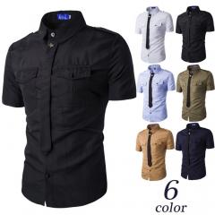 Men's fashion fake collar empty empty badge short sleeve shirt black m