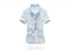 Men's simple casual men's Korean tide men's wild color shirt tide light blue m