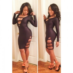 Ball sexy women long sleeves deep V collar package hip hollow fashion dress black M