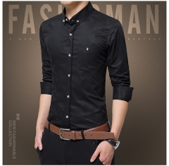 Slim shirt dark diamond embossed fabric large size male shirt black m