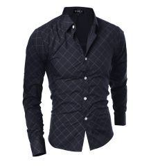 Classic dark pattern Lingge design men's leisure Slim long-sleeved shirt black m