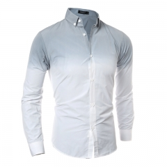 High-quality gradient tie-dyed men's casual Slim long-sleeved shirt gray m