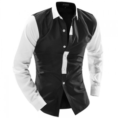 Men's black and white fight color classic splicing trend Slim long-sleeved shirt black m