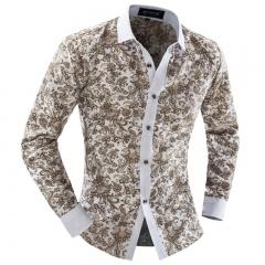 Men's blue and white flower color Slim long-sleeved shirt color m