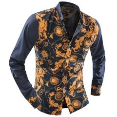 Men's wild color Korean long-sleeved shirt yellow m