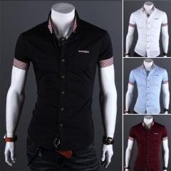 Lattice hit color casual 4-color men's shirt black M