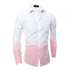 Men's fashion casual Slim long-sleeved shirt red M