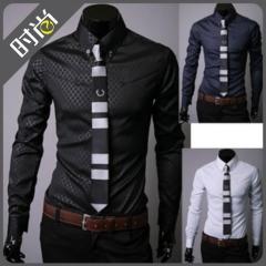 Dark Striped Men's Long Sleeve Shirt black M