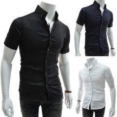 Obscure lattice Men's Slim Short Sleeve Shirt black M