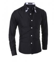 White casual long - sleeved shirt cotton blended black M