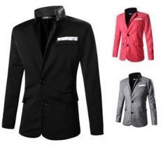 New pocket cloth design pure color personalized suit black M