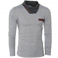 Autumn and winter men's fashion pile heap collar long-sleeved T-shirt gray M