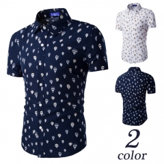 Men's fashion prints beach short-sleeved shirt Turkish balloons drak blue M