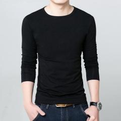 Slim cotton tide men's round neck shirt black M