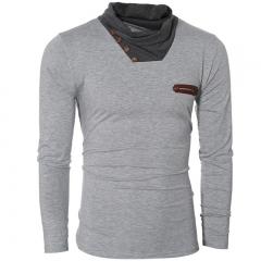 Men's fashion pile heap splicing long-sleeved T-shirt gray M