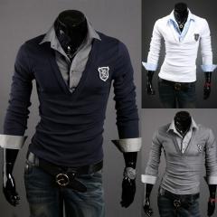 The new men's armbands trend of long-sleeved T-shirt Slim t-shirt black M