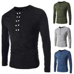Accessory double-breasted design men's self-cultivation t-shirt black M