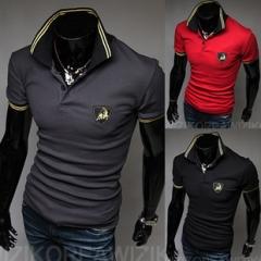 Bulls embroidered men's lapel short sleeve T-shirt black M