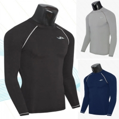 Zipper sports tights fitness t-shirt quick-drying training clothes long-sleeved T-shirt black M