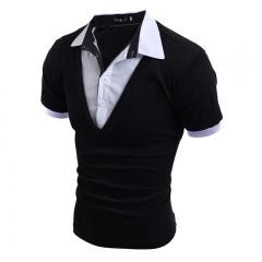 2016 New England Wind Retro Fake Two-piece Design Men's Slim Short Sleeve black M