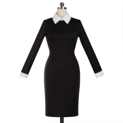 Autumn and winter long sleeves body dress European stand v collar pure color Slim pencil skirt black S