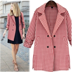 Women's 2017 autumn new Plaid loose sleeve long thin Plaid Jacket Suit red S