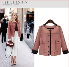 2017 new autumn and winter fashion single breasted jacket suede jacket pink XL