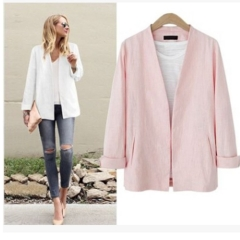 2017 early autumn new fashion thin solid long cardigan coat long sleeved jacket female pink S