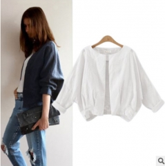 2017 autumn new fashion color bat sleeve jacket all-match thin long sleeved cardigan white S
