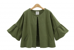 2017 autumn new fashion MM large size women seven sleeve cardigan coat color army green XL