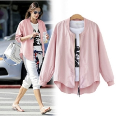 2017 autumn new fat MM large code women's solid color thin thin zipper coat pink XL