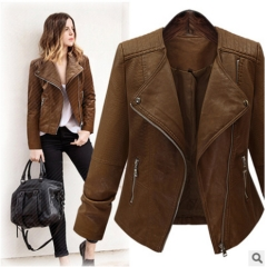 2017 autumn and winter jacket new long sleeved slim slim motorcycle leather cardigan coat coffee XL