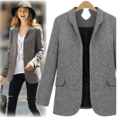 The new women's solid color thin micro collar professional suit small suit jacket gray S