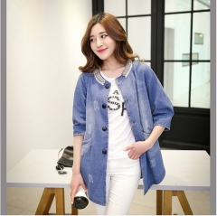 2017 spring new long in the cowboy torn bead collar ring leisurely sleeves denim jacket blue S