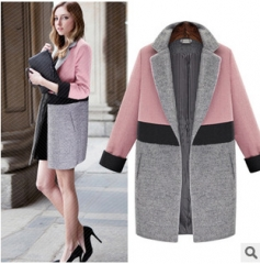 2017 winter new suit collar fight cashmere coat pink S