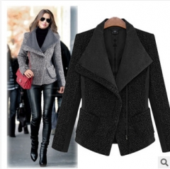 2017 autumn and winter new women's self-cultivation was thin hair coat stitching hit thickening black S