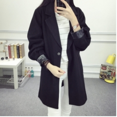 Autumn new fashion MM large size women's pure color was thin cocoon-style cloak in the long section black XL