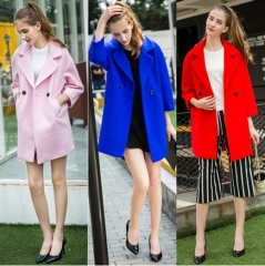 2017 autumn and winter new fashion cocoon-type solid color double-sided woolen woolen coat coat pink S